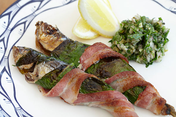Grilled Sardines Wrapped in Smoked Bacon and Wild Garlic with Wild Garlic Persillade