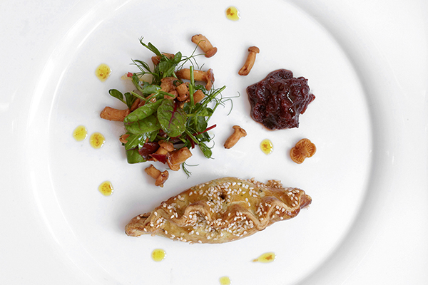 Hare and juniper pasties with pickled girolles