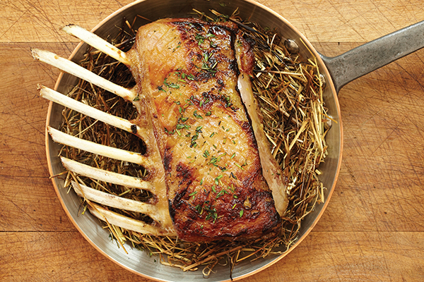 Hay-baked Lamb with Peas