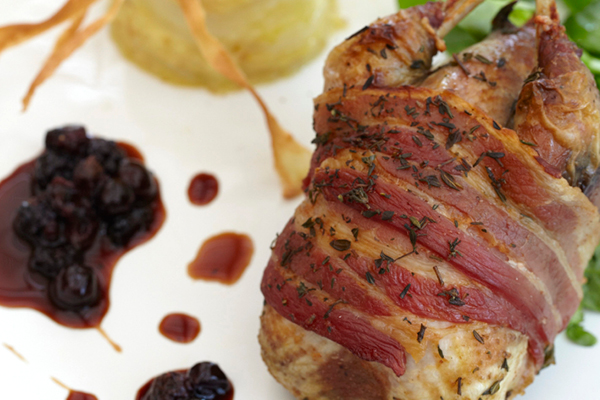Roast English Partridge with Parsnip Dauphinoise and Mulled Damsons