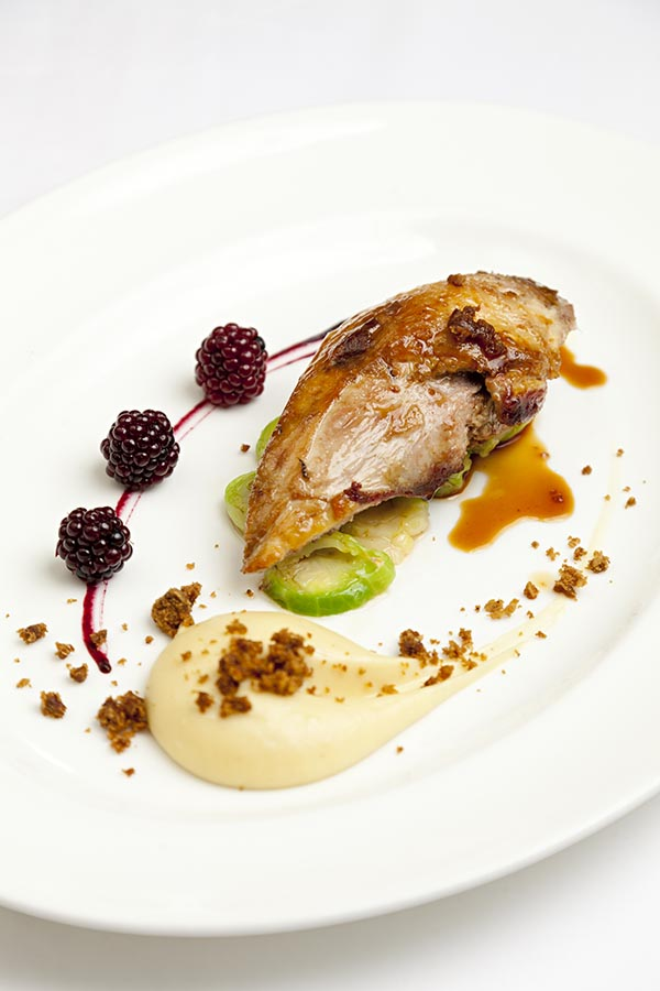 Roast pheasant breast, parsnip purée, parkin and pickled brambles