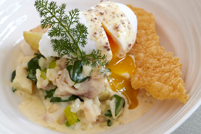 Smoked haddock and pearl barley risotto, poached egg and grain mustard