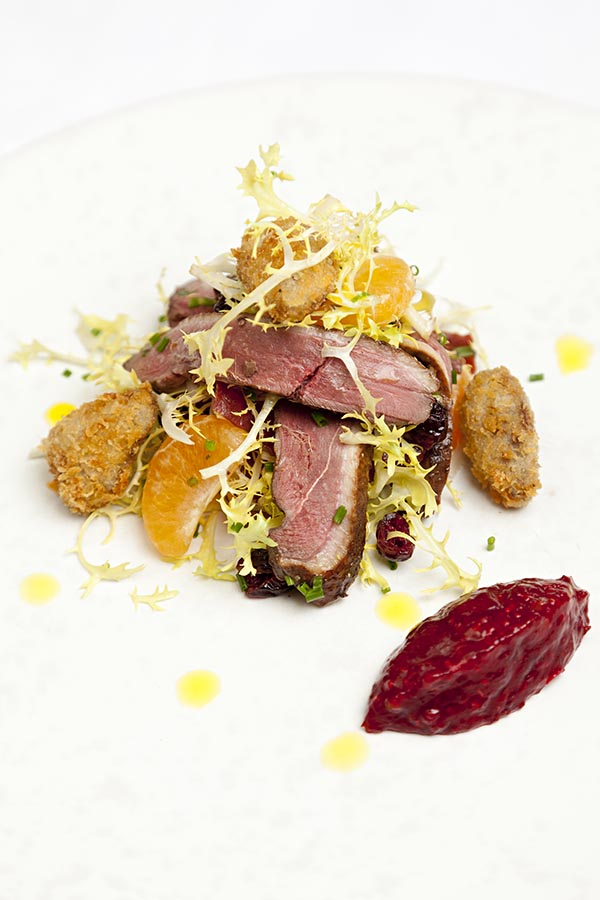 Smoked mallard salad with crispy duck heart croutons, clementine and cranberry relish