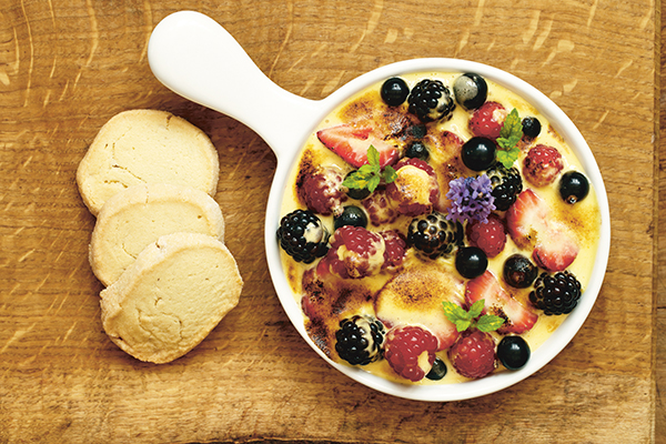 Summer Berries with Elderflower Gratin and Lavender Shortbread