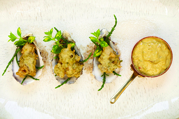 Two Chefs ale battered oyster and lemon balm fritters with brown crab mayonnaise